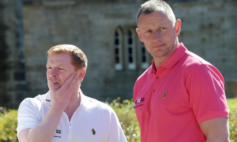 Neil Lennon and Rab Douglas at a charity golf day.