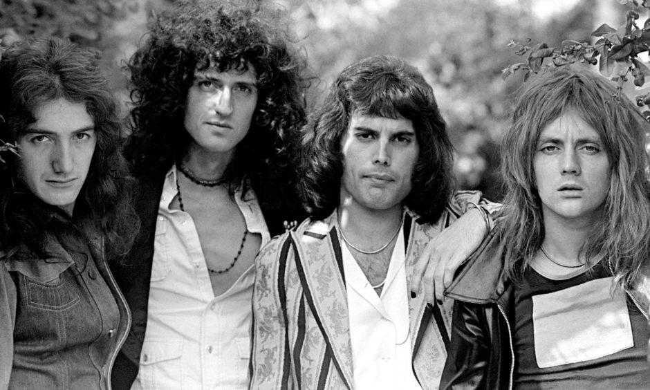 Queen at Ridge Farm recording studio in August 1975.
