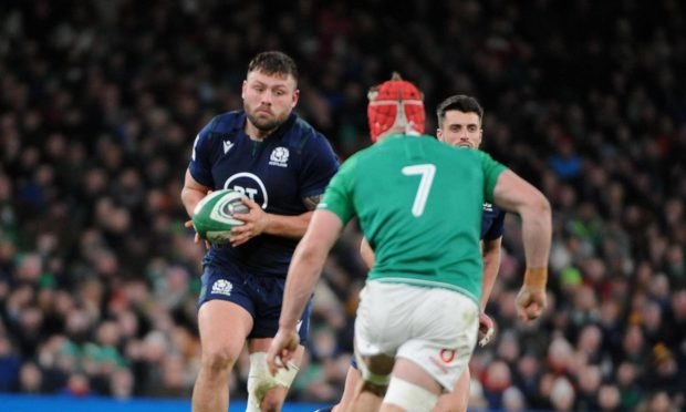 Rory Sutherland in his comeback game for Scotland in Dublin in January.