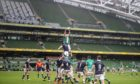 Empty seats at the Aviva Stadium in Dublin during the Autumn Nations Cup.