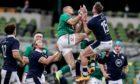 Stuart Hogg and Jacob Stockdale contest a high kick in Dublin.