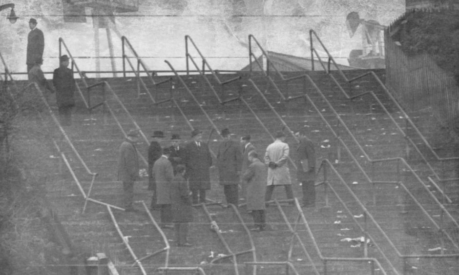The grim scene in the wake of the 1971 Ibrox Disaster.