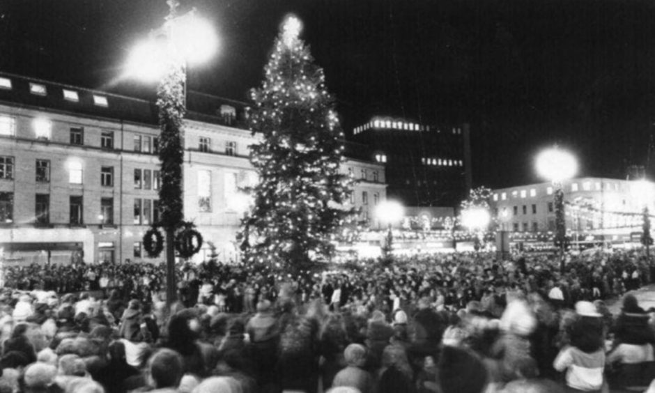 Switching on the Christmas lights in Dundee in 1986.