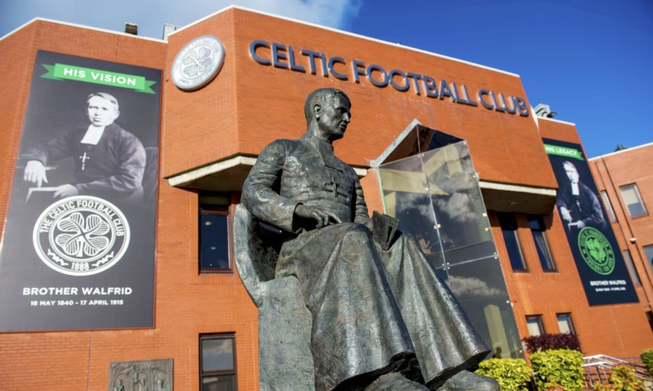 Brother Walfrid statue outside Celtic Park.