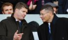 SRU chief operating officer Dominic McKay (L) with SPFL chief Neil Doncaster at 2018 Betfred Cup semi-final between Hearts and Celtic at Murrayfield.