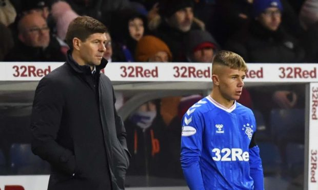 GLASGOW, SCOTLAND: JANUARY 17: Kai Kennedy waits to come on for his Rangers debut during the William Hill Scottish Cup 4th Round tie between Rangers and Stranraer at Ibrox Stadium on January 17, 2020 in Glasgow, Scotland. (Photo by Rob Casey / SNS Group)
