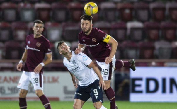 Hearts' Craig Halkett and Dundee's Danny Mullen (L) pictured during opening match of the season.
