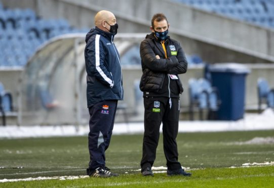 Head coaches Richard Cockerill (l) and Danny Wilson before Saturday's 1872 Cup game at Murrayfield.