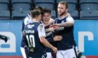 Dundee players celebrate after Danny Mullen made it 2-0.