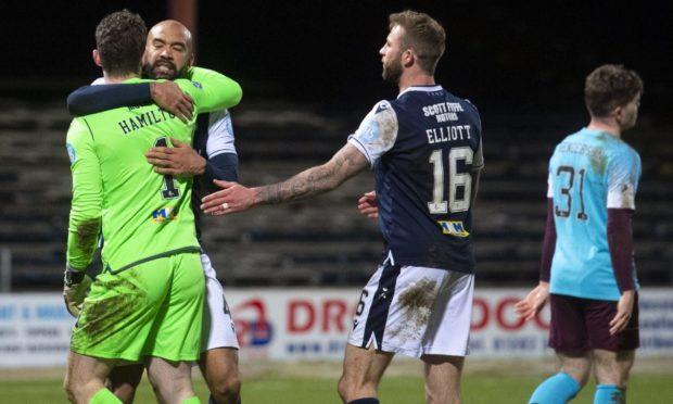 Dundee goalkeeper Jack Hamilton celebrates.