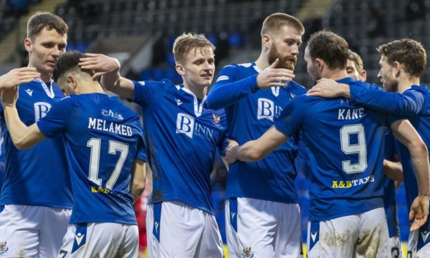 St Johnstone players come together to celebrate Chris Kane's goal.