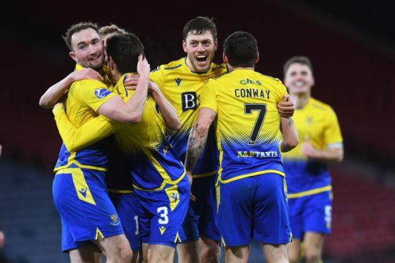 St Johnstone celebrate the third goal.