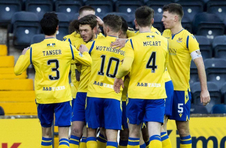 St Johnstone stars celebrate after goal from Murray Davidson.