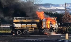 The vehicle caught fire on Sunday afternoon.