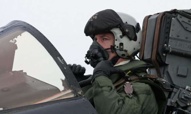 Flight Lieutenant Roy Macintyre on his final sortie in a Tornado F3 at RAF Leuchars in February 2009.