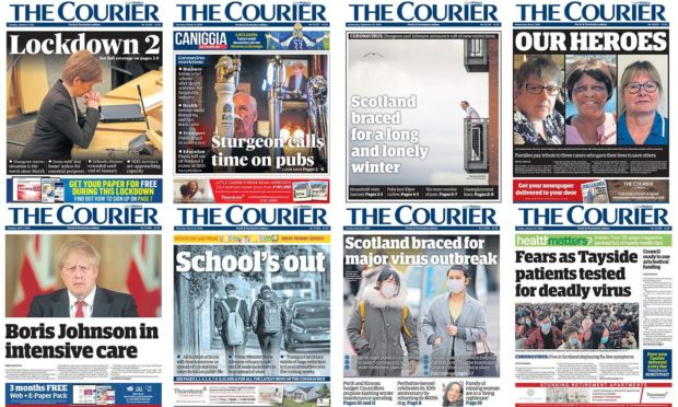 Courier front pages from a year of the coronavirus pandemic.