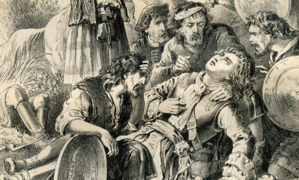 The death of Bonnie Dundee at the Battle of Killiecrankie.