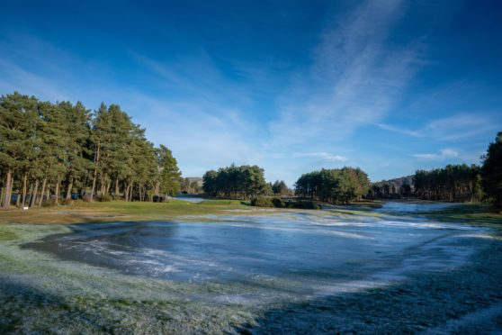 The frozen surface at Forfar Golf Club.