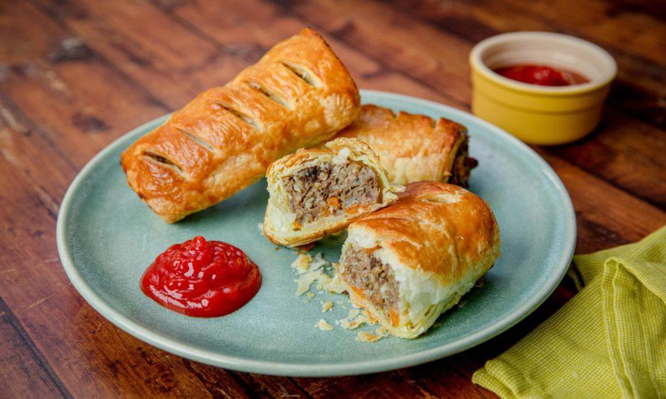 Haggis and sweet potato sausage rolls.