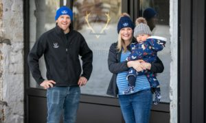 Andrew and Lauren Houstoun from Glenkilrie Larder, with their son, Alasdair.