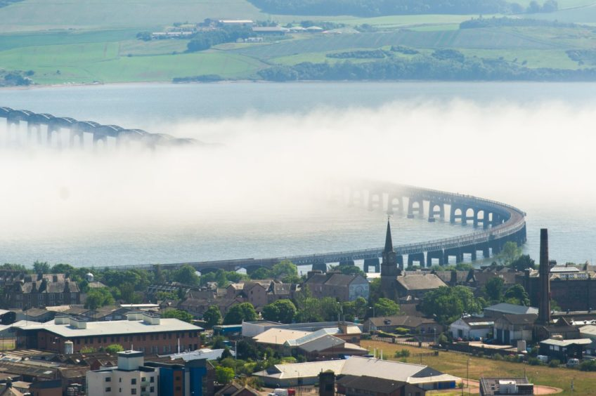 Haar from the North Sea makes its way up the River Tay.