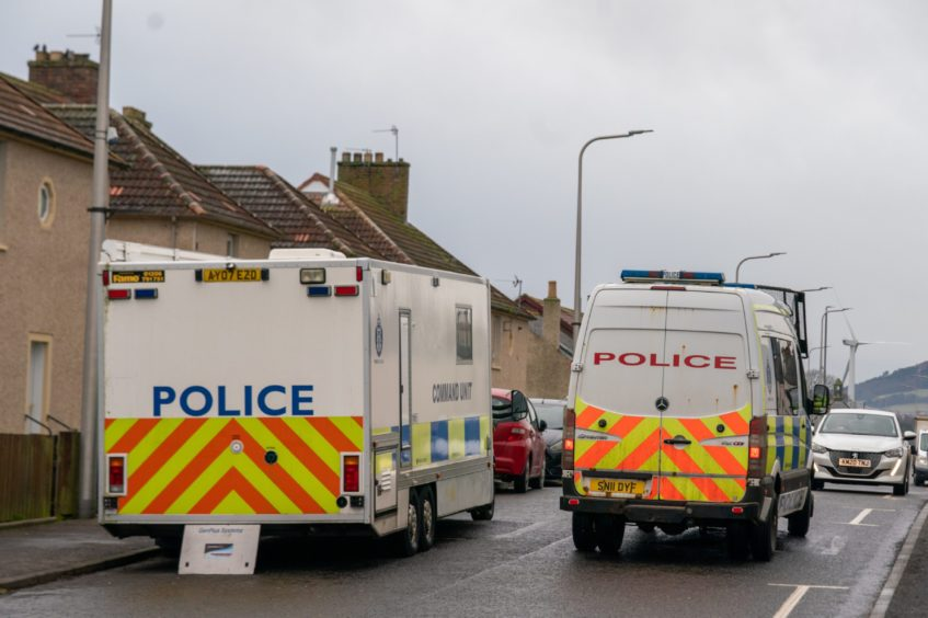 Police activity in Kinglassie on Wednesday