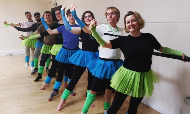 Christine MacKay and Salamandra staff take a charity ballet class. Picture taken prior to Covid-19.