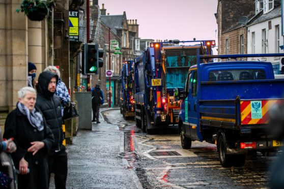 A procession of bin lorries travelled through Crieff in tribute to much loved employee Scott Hunter
