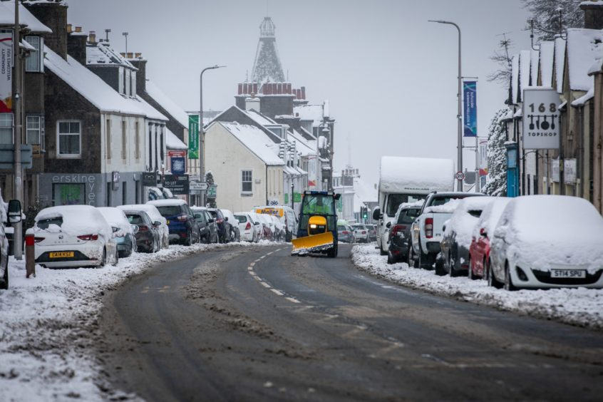 Auchterarder High Street turned white.