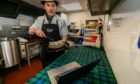 Butcher Tom Courts prepares to zoom in to Fridays Burns supper.