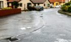 Sheet ice on a Glenrothes street on Monday.