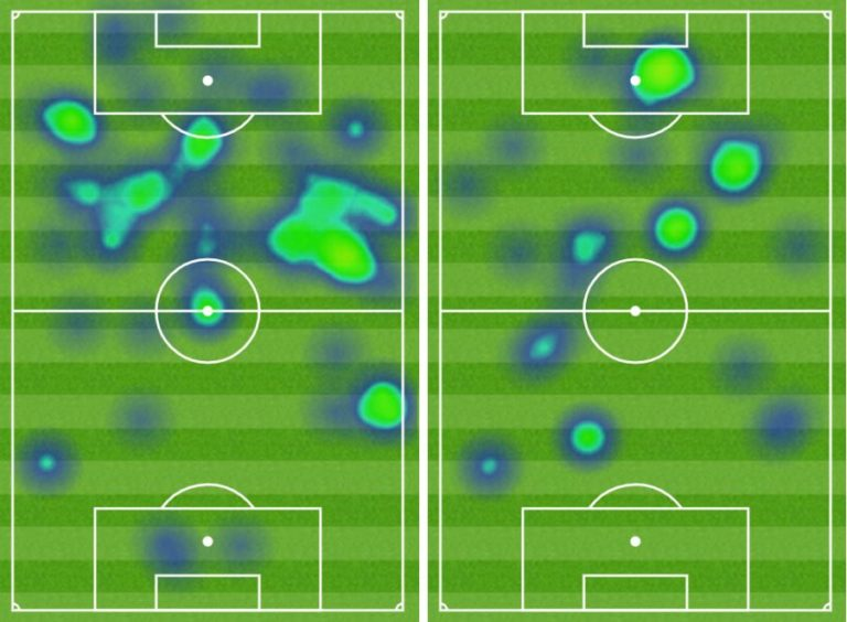 Lawrence Shankland and Guy Melamed heatmaps compared.