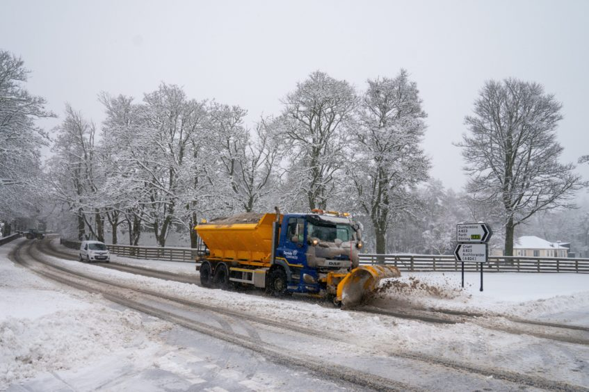 A tractor on the A823 by Gleneagles.