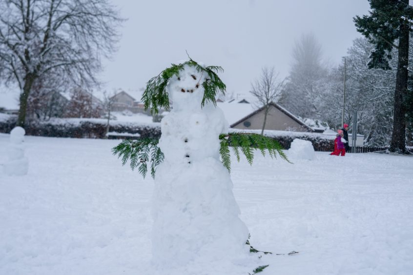 Snowmen of all shapes and sizes sprung up in Perthshire.