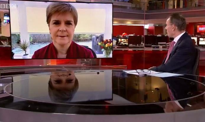 Nicola Sturgeon appearing on the BBC's Andrew Marr Show