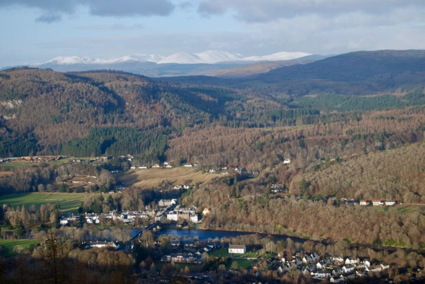To go with story by Jennifer McLaren. To accompany Alan Rowan's Walk This Way column for 16.01.21 Picture shows; The view down to Dunkeld and Birnam. Highland Perthshire. Supplied by Alan Rowan Date; Unknown It's a hill that can be accessed easily by rail, a short hop from Perth making for