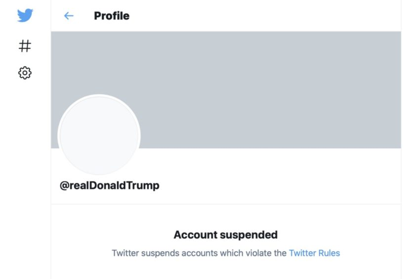 The suspended Twitter account of President Donald Trump.