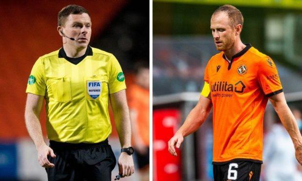 Dundee United captain Mark Reynolds (right) has taken aim at referee John Beaton.