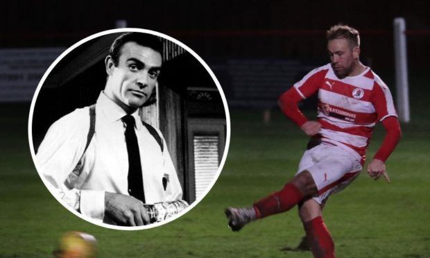 Sir Sean Connery and Bonnyrigg Rose's top scorer this season, Lee Currie.