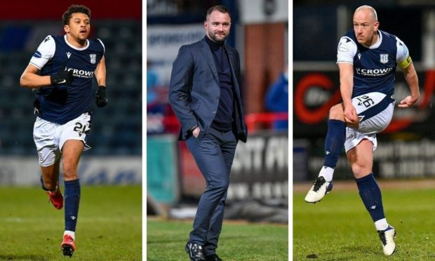 Osman Sow (left) and Charlie Adam (right) have been key players for Dundee boss James McPake in his second season in the dugout.
