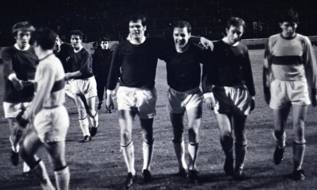 The St Johnstone players celebrate beating Motherwell in the 1969 semi-final.