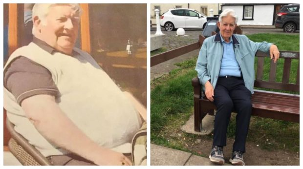 Angus McBay before his seven-stone weight loss (left) and after.