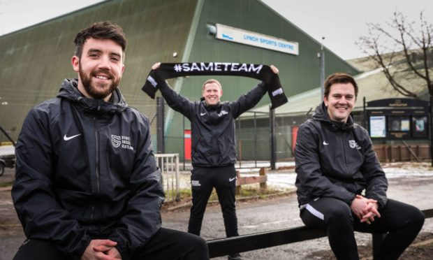 Picture shows; l to r, Area Manager David MacKenzie, Programme Coordinator Kyle Fraser and Buisness Development Manager Scott Hollinshead outside the Lynch Sports Centre on South Road, Dundee. Edwards/DCT Media