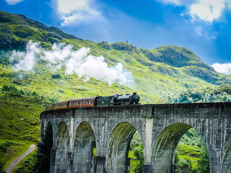 The Jacobite Train on the Glenfinnan Viaduct.