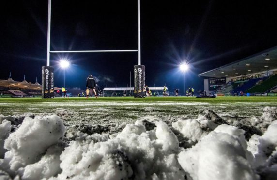 Even Scotstoun's all-weather pitch froze this winter.