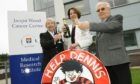 Bessie Henderson, Lady Fiona Fraser and Aubrey Wood celebrate reaching £2m funding target in 2015.