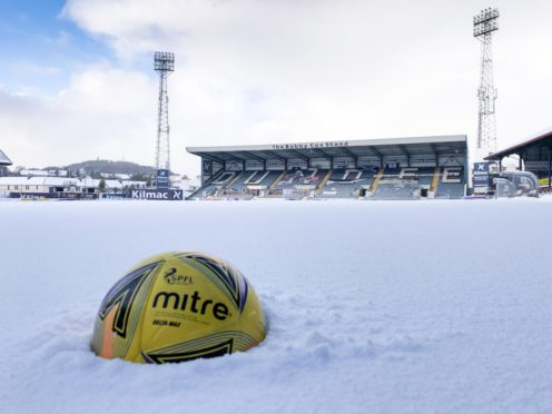 The Dens Park pitch has been lost to the snow.