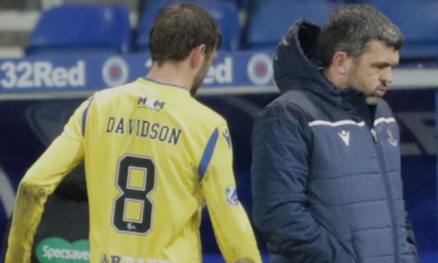 Murray Davidson limps off at Ibrox during Rangers clash.