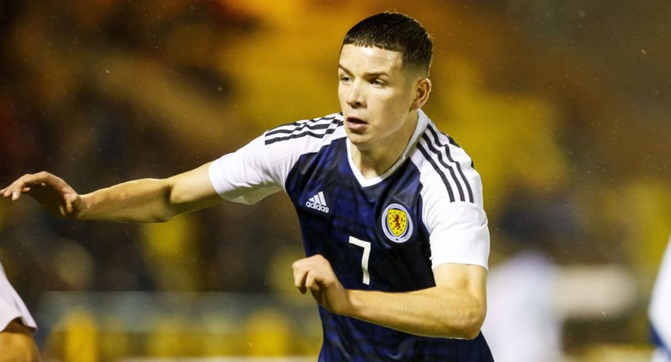 Charlie Gilmour in action for Scotland U-19s.