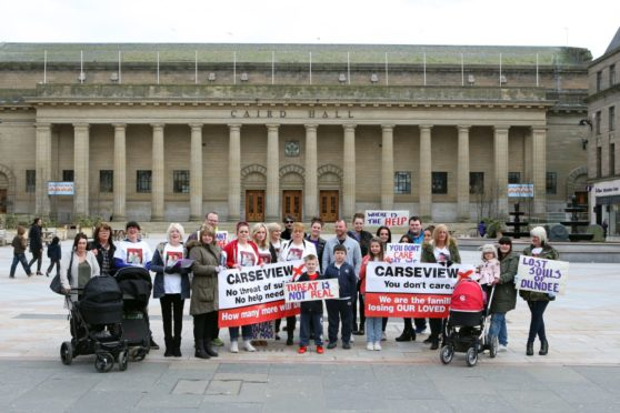 Campaigners previously gathered outside the Caird Hall in Dundee to call for changes to be made to mental health services